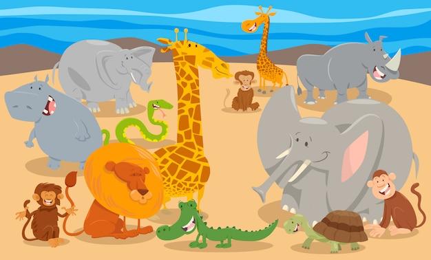 Illustrazione del fumetto del gruppo di caratteri animali