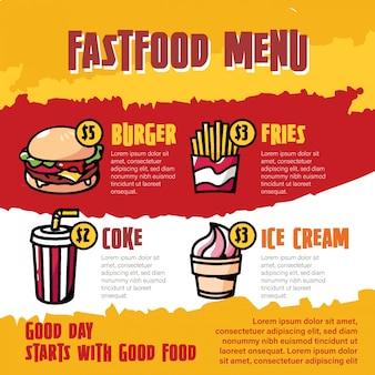 Illustrazione del fumetto del menu degli alimenti a rapida preparazione