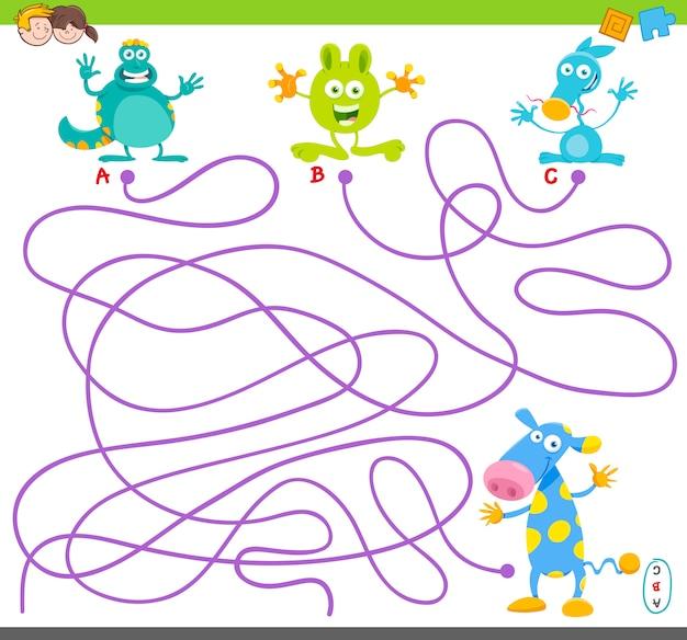 Illustrazione del fumetto del puzzle del labirinto con i mostri