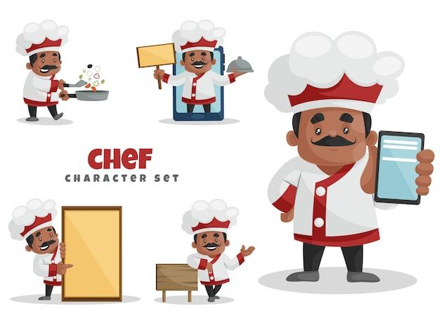 Illustrazione del fumetto del set di caratteri del cuoco unico