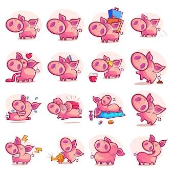 Illustrazione del fumetto del set di maiale
