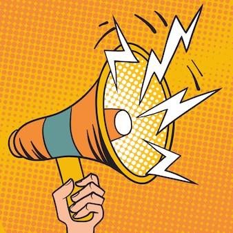 Illustrazione del fumetto dell'altoparlante di progettazione del megafono di pop art.