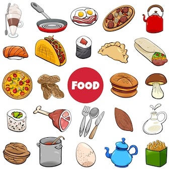 Illustrazione del fumetto dell'insieme degli oggetti dell'alimento grande