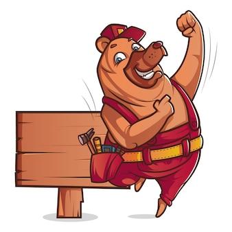 Illustrazione del fumetto dell'orso sveglio che porta cappello con il bordo di legno.