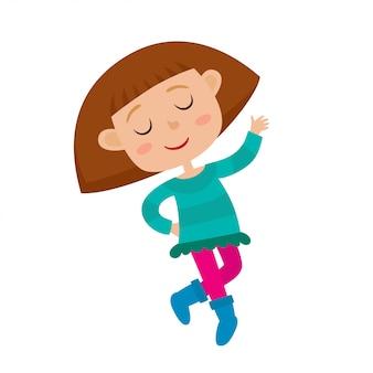 Illustrazione del fumetto della bambina che balla e che sorride sulla festa isolata su bianco.