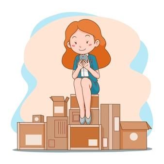 Illustrazione del fumetto della donna di affari che compera online con il telefono cellulare, sedentesi sul mucchio delle cassette delle lettere.
