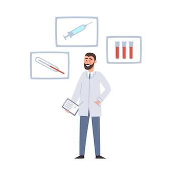 Illustrazione del fumetto della lavagna per appunti di condizione e della tenuta dell'uomo di medico e bolla con l'icona medica isolata su bianco. medico maschio, uso dell'ospedale per poster, sito web dell'ospedale