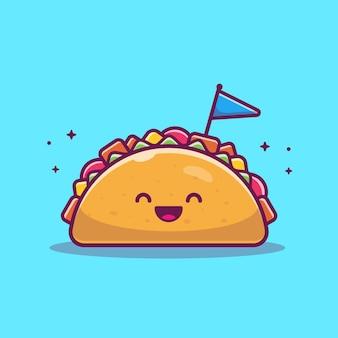 Illustrazione del fumetto della mascotte di taco. simpatico personaggio taco con bandiera. cibo