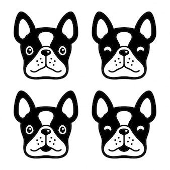 Illustrazione del fumetto della testa del bulldog francese del cane
