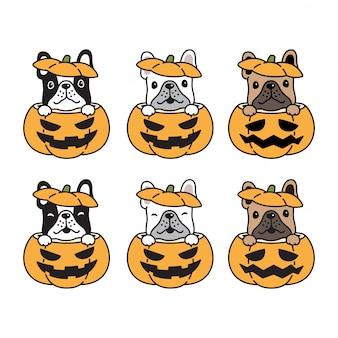Illustrazione del fumetto della zucca di halloween del bulldog francese del cane