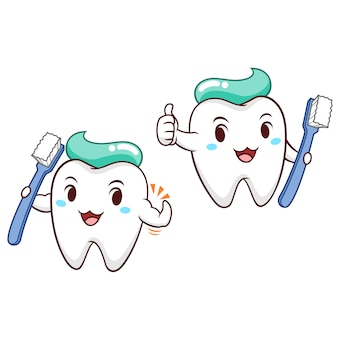 Illustrazione del fumetto dello spazzolino da denti della tenuta del dente.