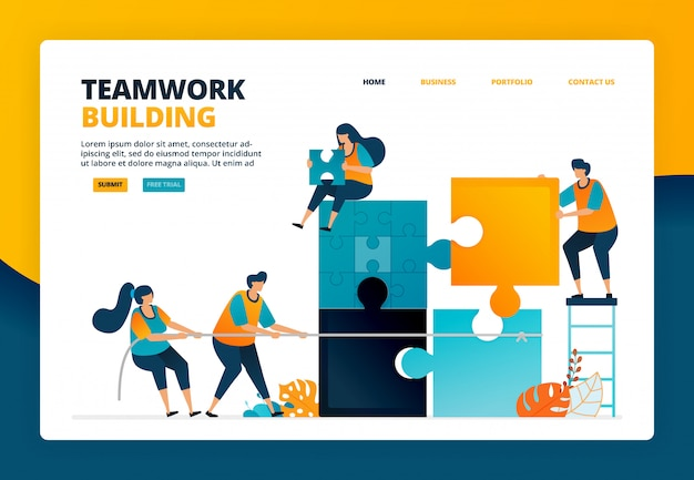 Illustrazione del fumetto di completamento dei giochi di puzzle per addestrare lavoro di squadra e collaborazione nell'organizzazione. gioco di risoluzione dei problemi per la squadra
