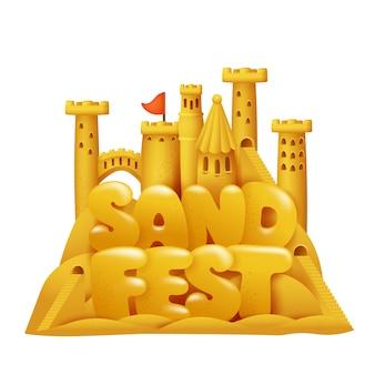 Illustrazione del fumetto di festival del castello della sabbia. costruzioni di sculture in spiaggia con archi e torri.