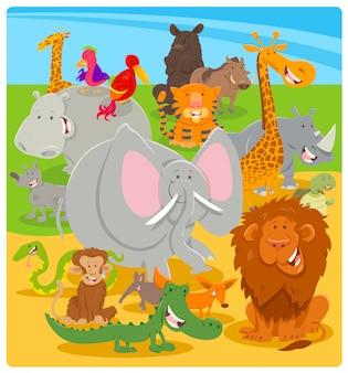 Illustrazione del fumetto di personaggi di animali selvatici