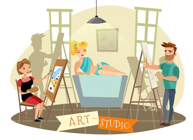 Illustrazione del fumetto di processo creativo di art studio
