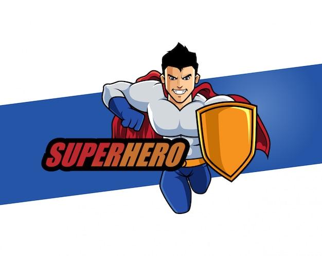 Illustrazione del fumetto di progettazione di carattere del supereroe