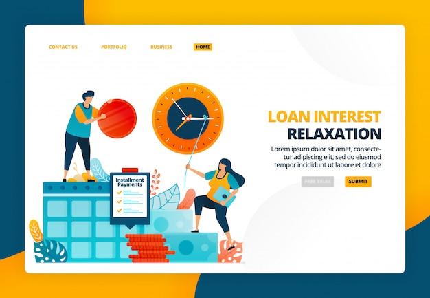 Illustrazione del fumetto di rinvio dei pagamenti rateali per i clienti colpiti dalla crisi. bad credito per debito e prestiti alle imprese