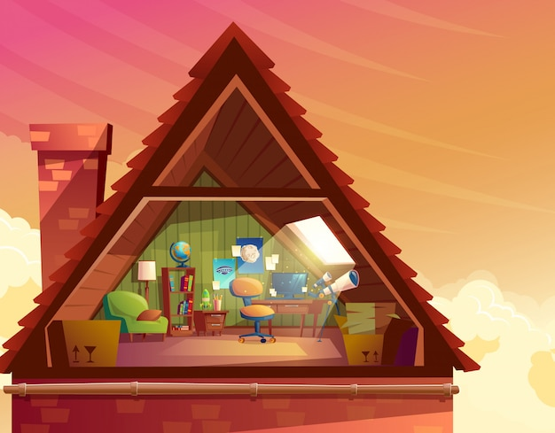 Illustrazione del fumetto di soffitta, mansarda, soppalco sotto il tetto dell'edificio