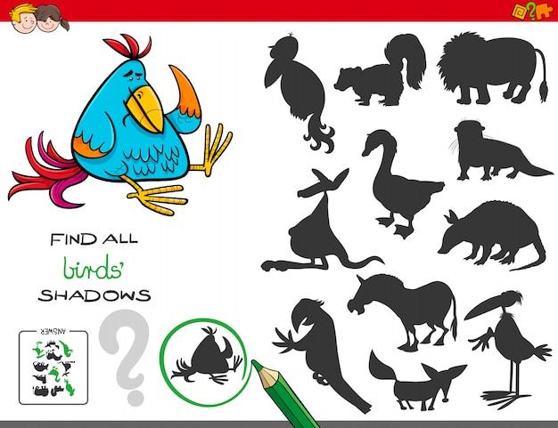 Illustrazione del fumetto di trovare tutti gli uccelli gioco educativo di ombre per i bambini