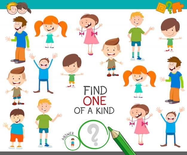 Illustrazione del fumetto di trovare uno di un gioco di attività educativo dell'immagine con personaggi bambini felici