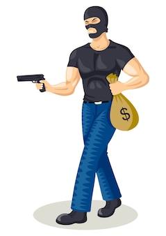 Illustrazione del fumetto di un ladro che tiene una pistola e un sacco di soldi