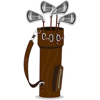 Illustrazione del fumetto di vettore dei club e della sacca da golf isolata