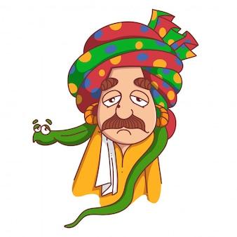 Illustrazione del fumetto di vettore dell'ammaliatore di serpente con la faccia triste.
