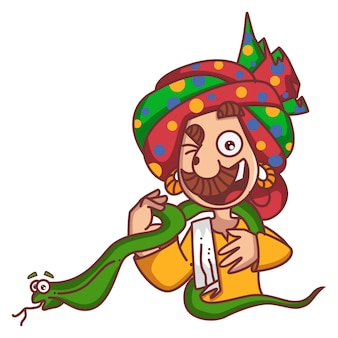 Illustrazione del fumetto di vettore dell'incantatore di serpenti che tiene cobra.