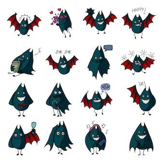 Illustrazione del fumetto di vettore dell'insieme del pipistrello.