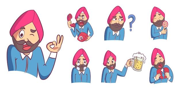 Illustrazione del fumetto di vettore dell'insieme dell'uomo del punjabi.