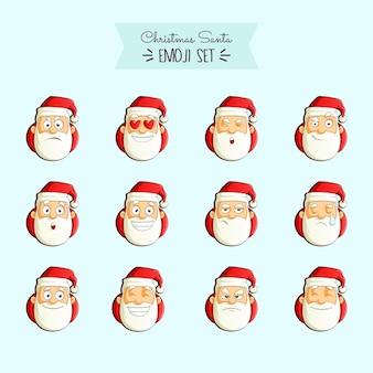 Illustrazione del fumetto di vettore dell'insieme di emoji di santa di natale.
