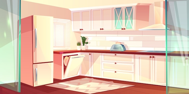 Illustrazione del fumetto di vettore della cucina luminosa nel colore bianco. frigorifero, forno e cappa aspirante in cucina