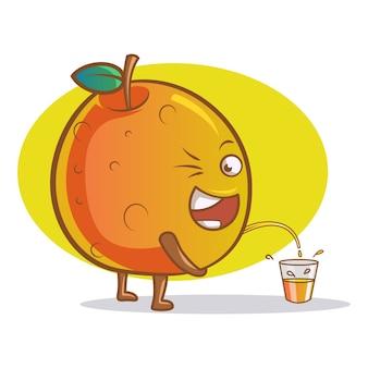 Illustrazione del fumetto di vettore di arancia carino.