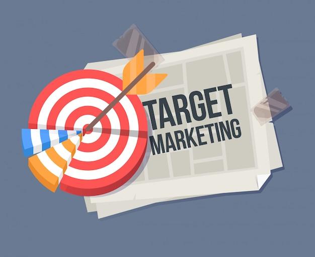 Illustrazione del fumetto di vettore di un giornale piegato. modello di informazioni importanti con target. illustrazione del fumetto di marketing di destinazione.