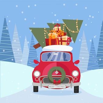 Illustrazione del fumetto di vettore piatto di auto retrò con regali, albero di natale sul tetto. piccola macchina rossa che trasporta scatole regalo.