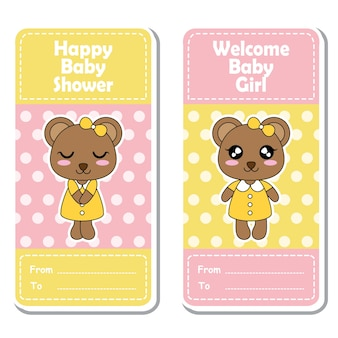 Illustrazione del fumetto vettoriale con le ragazze orso sveglio su sfondo rosa e giallo del puntino di polka adatto per disegno dell'etichetta della doccia del bambino, insieme della bandiera e della carta di invito