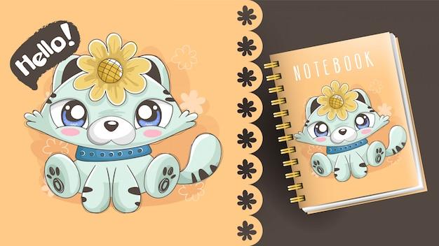 Illustrazione del gattino con il girasole. idea per notebook