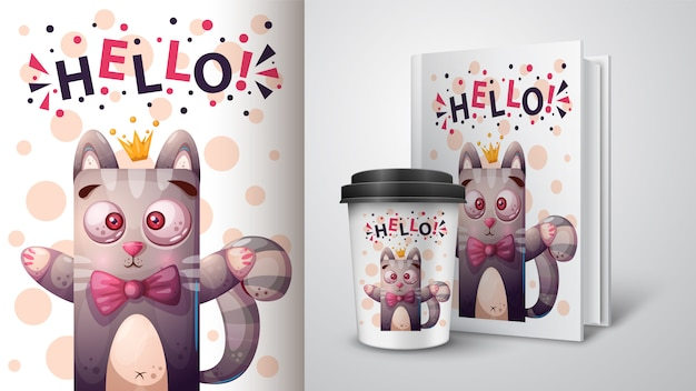 Illustrazione del gatto della principessa per il libro della copertura e della tazza