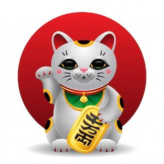 Illustrazione del gatto fortunato di maneki neko giappone