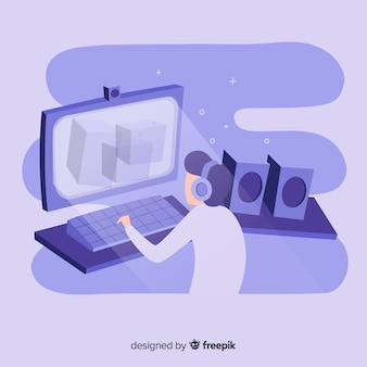 Illustrazione del giocatore adolescente che gioca i video giochi sul desktop computer
