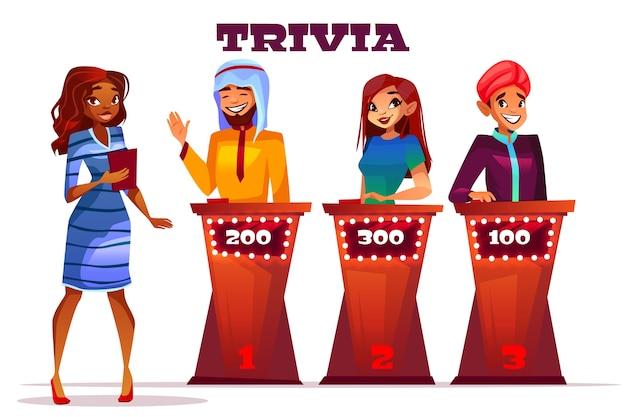 Illustrazione del gioco di curiosità del quiz. giocatori di domanda del presentatore della donna afroamericana nera