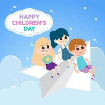 Illustrazione del giorno dei bambini felici con i bambini che guidano aereo di carta