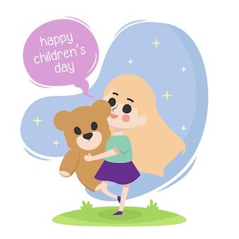 Illustrazione del giorno dei bambini felici con una ragazza sua bambola