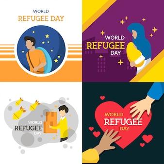 Illustrazione del giorno del rifugiato del mondo