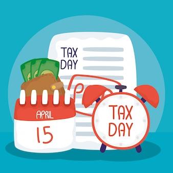 Illustrazione del giorno delle tasse con sveglia e ricevuta