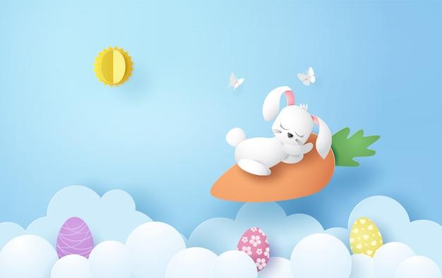 Illustrazione del giorno di pasqua con uova e coniglio,