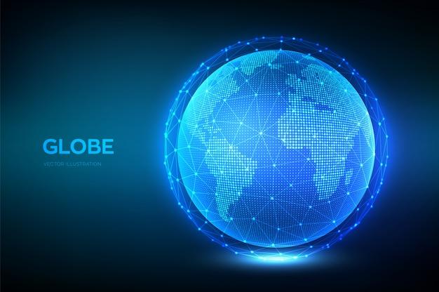 Illustrazione del globo terrestre. concetto di composizione del punto e della linea della mappa mondiale della connessione di rete globale.