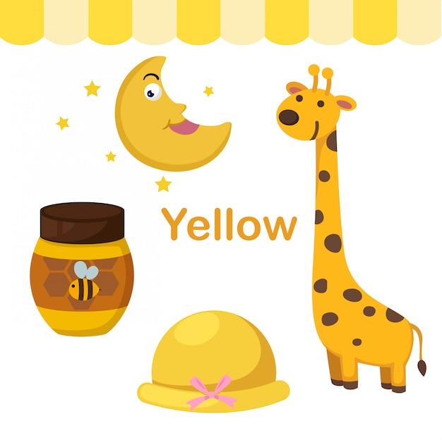 Illustrazione del gruppo di colore giallo isolato