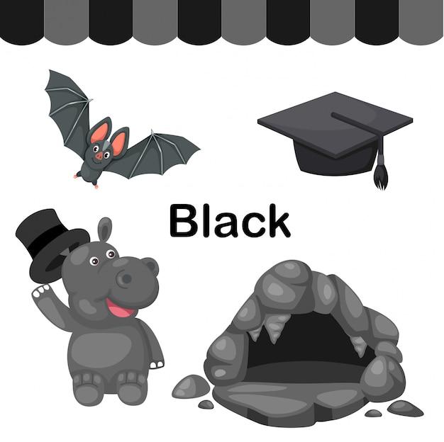 Illustrazione del gruppo di colore nero isolato