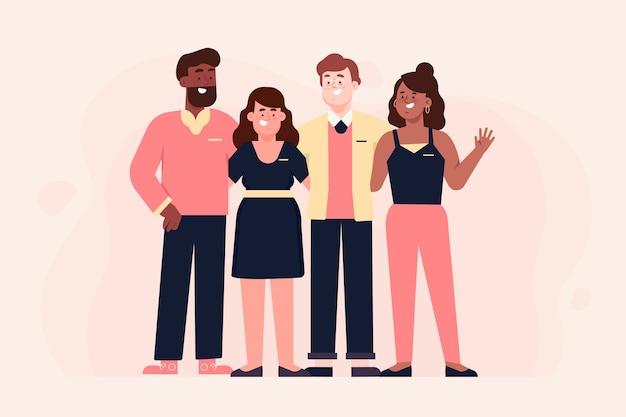 Illustrazione del gruppo di persone raccolta